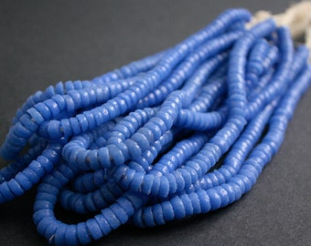 1 Strand Blue African Disc Beads, Ghana Krobo Recycled Glass, 7 mm Spacers, 10 inches Long for Jewelry and crafts