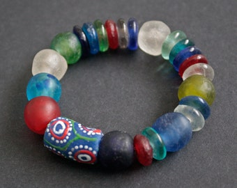 Stretchy African Beaded Bracelet, Ghana Recycled Glass Beads, Chunky & Bright, Lovely Gift Idea