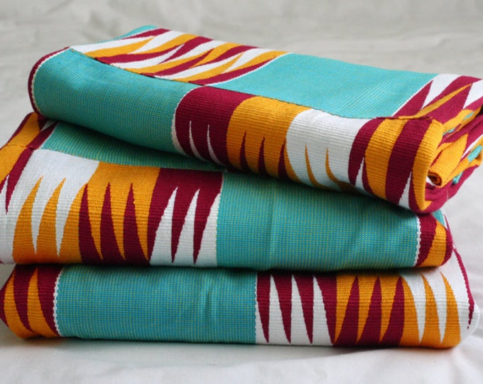 Featured listing image: African Fabric, Ghana Kente Cloth, Wedding and Occasion Wear, Cotton, Turquoise/Maroon/Gold/White. Absolutely Stunning, 1 Large Piece