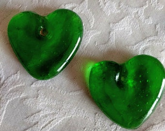 2 African Recycled Glass Pendants from Ghana Handmade Hearts, Green,  40 mm