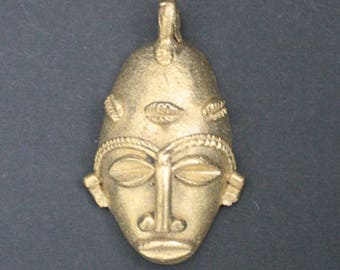 Tribal Brass Pendant or Charm African Mask Handmade Lost Wax from Ashanti, Ghana