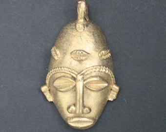 Tribal Brass Pendant or Charm African Mask 62mm Handmade Lost Wax from Ashanti, Ghana