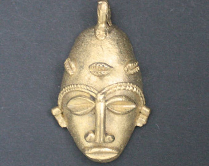 Featured listing image: Tribal Brass Pendant or Charm African Mask 62mm Handmade Lost Wax from Ashanti, Ghana