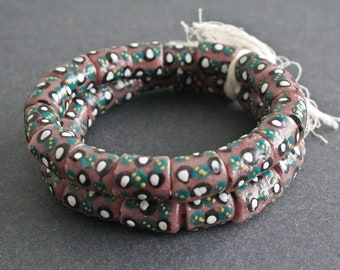 16 African Beads Recycled Glass Ghana Krobo Chunky Tubes Handmade,14-17 mm, Dusky Pink/White/Black/Teal, 1 Full strand.