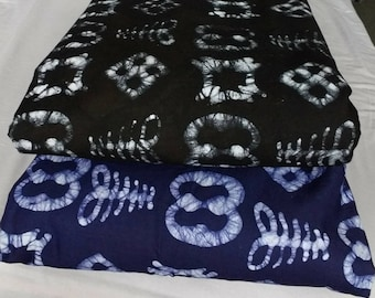 African Adinkra* Fabric by the Yard Ghana Cotton Batik, Ethnic Print, Clothing, Quilting and More, 3 Colour Options. Black/Blue/Navy