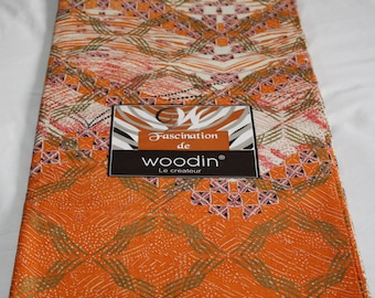 Orange African Fabric by the Yard, Woodin Brand, Ghanaian Cotton Print Gift for Her, with Shimmery Gold Details, 1 Yard