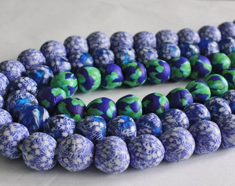 Large African Beads Ghana Refashioned Glass Handmade Round 17 to 19mm,
