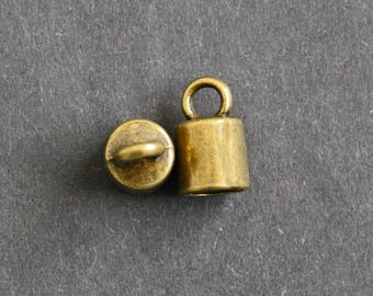 Large End Caps, Cord Ends, Antique Brass Coloured, 10 Pieces or 5 Pairs