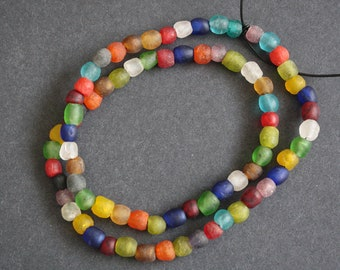 70 Round African Beads, Handmade Recycled Glass from Krobo in Ghana, 6-7 mm Multi-Colours, Full Strand