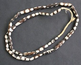 10 African Bone Beads,  Kenyan  Ethnic 'Batiked', 25 mm Tubes for Jewellery and Crafts