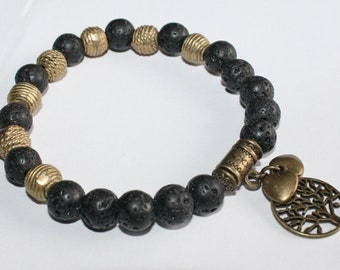 Stretchy Lava Bracelet with African Brass Bead and Hearts/Tree of Life Charms, 7inches inches, Pretty & Cute
