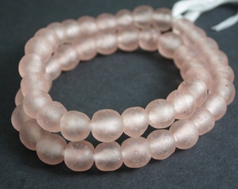 15 Palest Pink African Beads, Recycled Glass, Ghana Krobo, 13-14 mm, Handmade Ethnic Beads