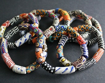 African Beaded Bracelet, Ghana Krobo Recycled Glass Beads, Lovely Gift Idea, Mixed Design Beads, 9 Options, Approx 6.75 - 7 inches long
