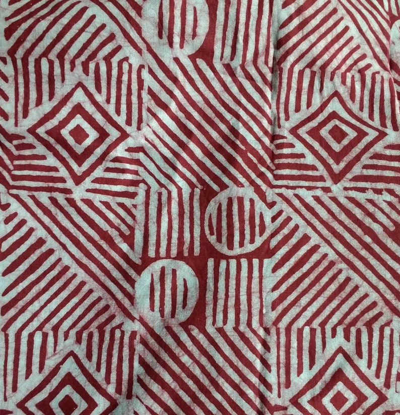 RedPalest Blue Sew Craft Ghana Ethnic Cotton  Preshrunk /& Hand-Dyed Red African Batik Fabric by the Yard Quilt