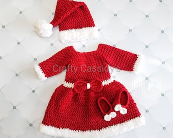 eaf05dde5eac Baby girl Christmas dress, baby Christmas outfit, babys first christmas  dress, little mrs Santa claus dress, holiday dress red crochet