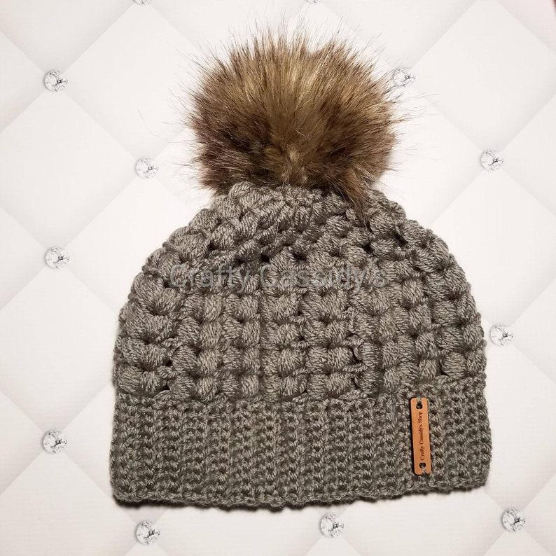 f17495d5968 Winter hat with fur pom pom crochet winter hat knit winter