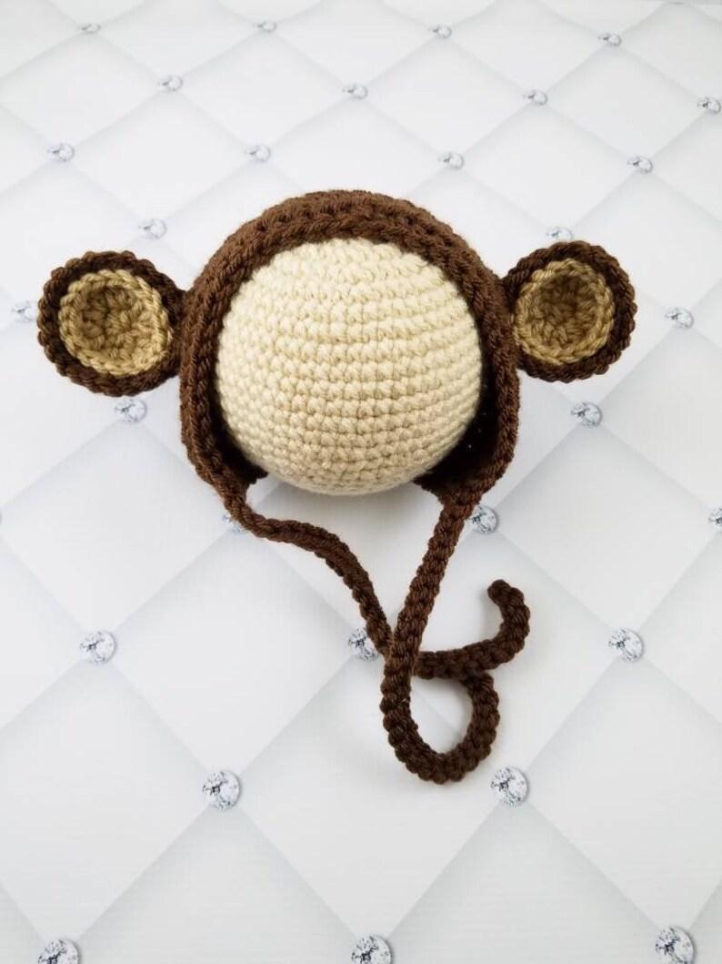 Crochet Monkey Bonnet Baby Monkey Hat Newborn Monkey Photo Etsy