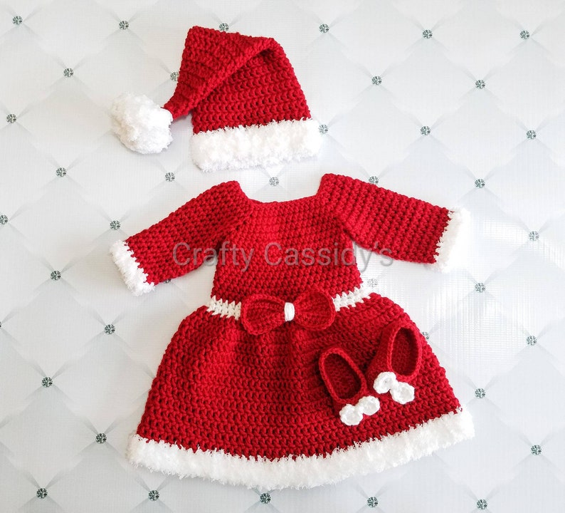 Baby Girl Christmas Dress Baby Christmas Outfit Babys First Christmas Dress Little Mrs Santa Claus Dress Holiday Dress Red Crochet