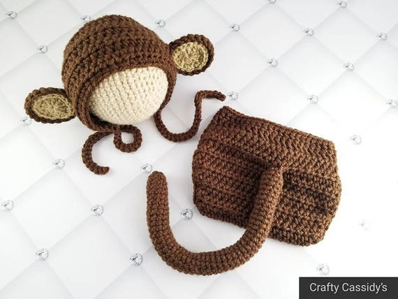 Crochet Monkey Bonnet And Diaper Cover Baby Monkey Hat Etsy