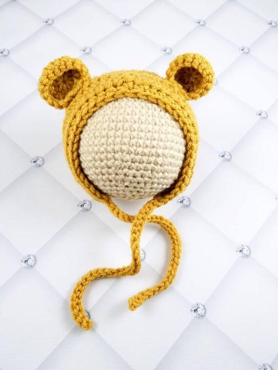 d41669f7cd8c Winnie the pooh bear hat newborn to child size crochet Winnie   Etsy
