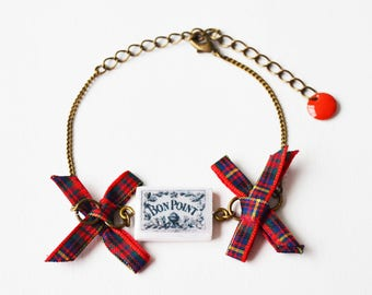 Good Point vintage red Plaid bow bracelet