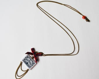 Good Point knot vintage red Plaid rectangle necklace