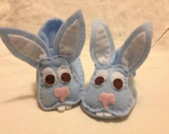 Blue baby bunny booties  handmade bunny shoes