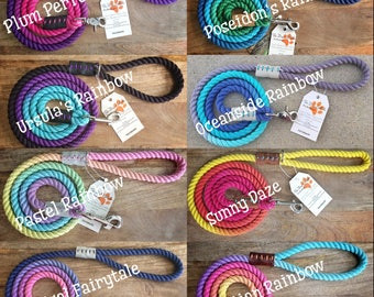 Rainbow Rope Leash (Made to order)