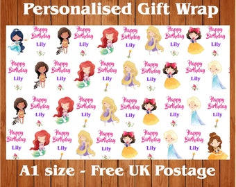 Personalised Disney Princess inspired Birthday Wrapping Paper & 2 tags