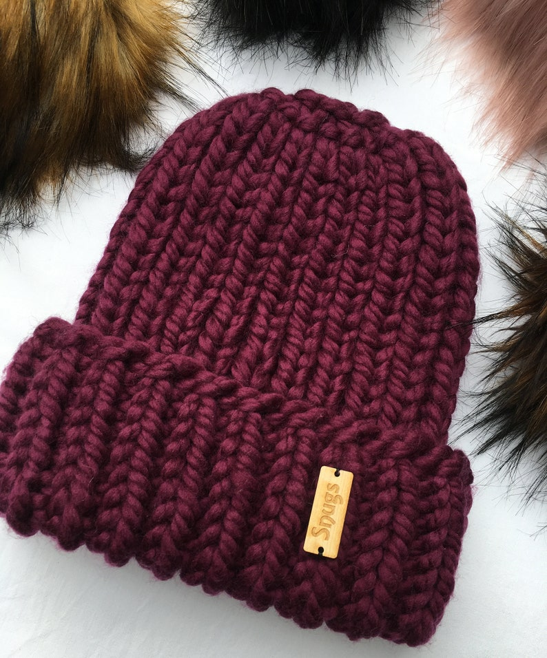 e0978c4996d Soft Chunky Hand Knitted Pure Merino Wool Beanie Winter