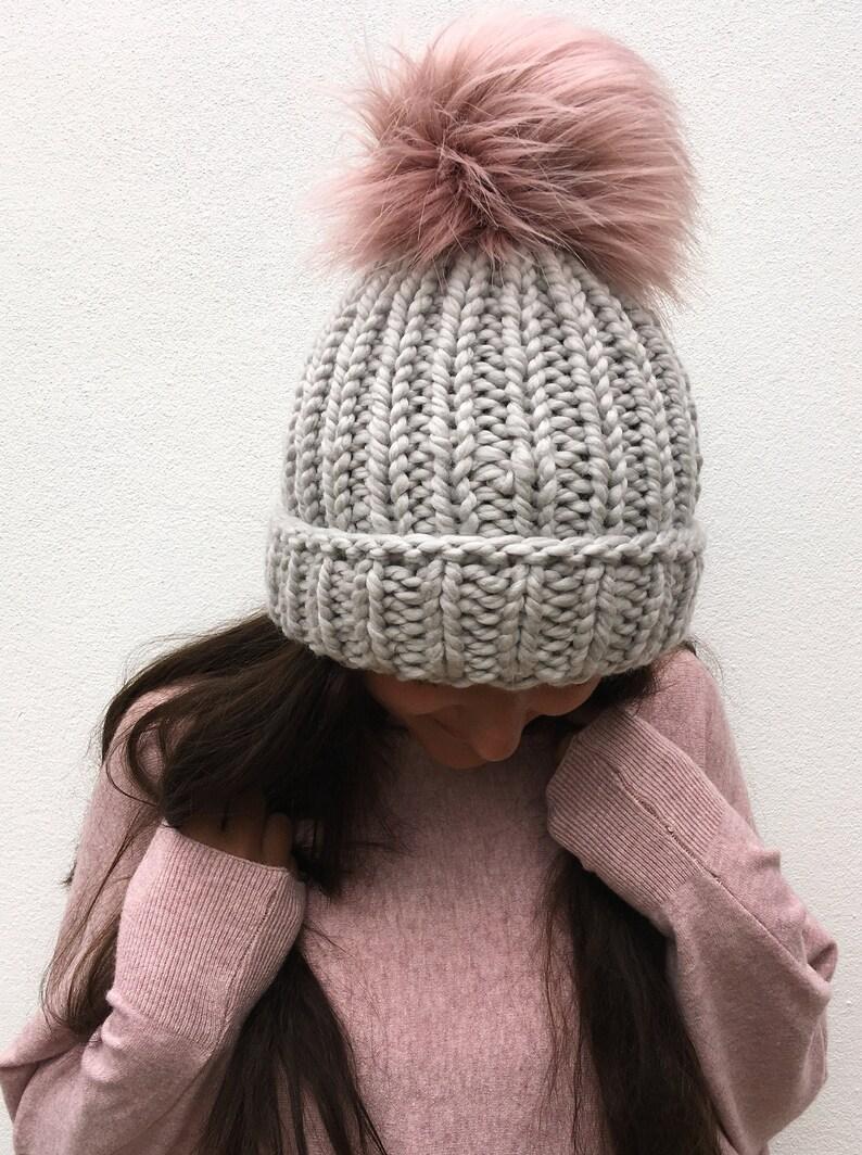 11608b5e401 Soft Chunky Hand Knitted Pure Merino Wool Beanie Faux Fur