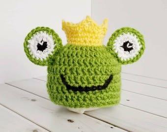 Crochet chapeau bébé Prince grenouille, vêtements de bébé garçon, nouveau-né  Photo Prop, cadeau de conte de fées, le nouveau-né Photo tenue, vêtements  de ... 5f5120b5c71