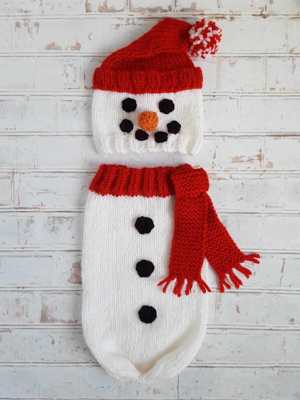 Knitted Snowman Hat   Snuggle Sack Set Baby Boy First  a0633609aec