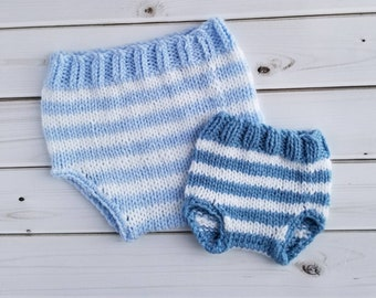 Knitted Diaper Cover, Baby Shower Gift, Baby Girl Clothes, Baby Boy Clothes, Newborn Photo Prop, Diaper Cover, Baby Bloomers. Baby Pants