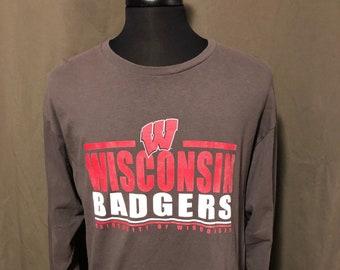 Vintage University of Wisconsin Badgers Long Sleeve T-Shirt, Size XLarge