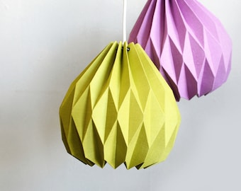 Origami Lamp with Plug-in Cord / Pendant Lamp / Hanging Lamp / Ceiling Lamp / 100% Linen Fabric Origami Shade / Shop by Color