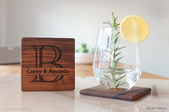Personalized Coasters Wedding Gift: Monogram Wood Coasters Personalized Coasters Wedding Gifts