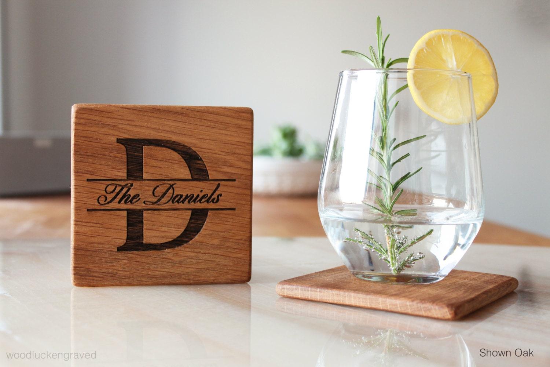 Personalized Coasters Wedding Gift: Wood Coasters Set Personalized Wedding Gift For Couple
