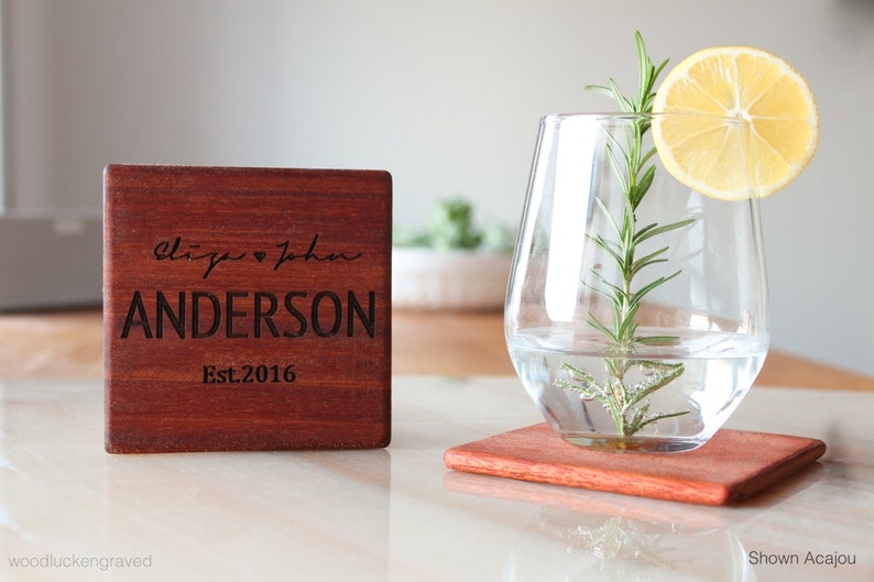 Personalized Wooden Coasters Newly Engaged Gifts Wed