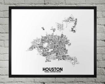 Houston Texas Neighborhood Typography City Map Print