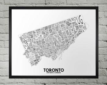Toronto Ontario Neighbourhood Typography City Map Print