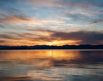 Sunset Across Lake Champlain from Vermont towards Adirondacks - Photographic Print