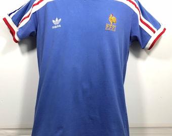 7b332ebf0 Vintage 1986 France Soccer Futbol National Team jersey Men s Size Large  Blue World Cup Mexico