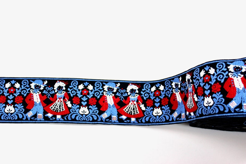 sewing country house home decor Vintage weaving tape retro textile folklore Austria border black blue red decorating costume cushions and much more.