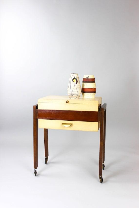 Vintage Sewing Box Antiker Nähkasten Nähwagen Nähschrank