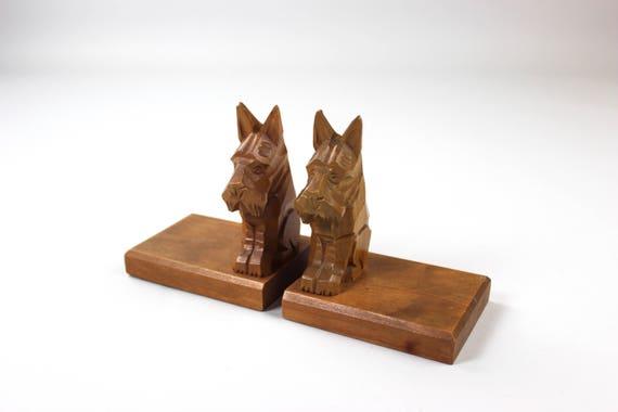 Mid Century Buchstützen Buchhalter Holz Vintage Hunde Dog Etsy