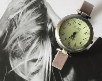 Vintage style watch. Leather watch for women. Unique women's watch designed by JuSal08. Custom made sized watch.