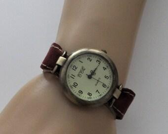 Watch, retro inspired,  boyfriend style watch, minimalist watch, classy watch, unisex watch, bronze round watch, exclusive watch by JuSal08