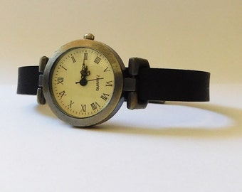 Women's watch, simple bohemian style, with black leather band. Custom sized wrist watch. Watch for women by JuSal08