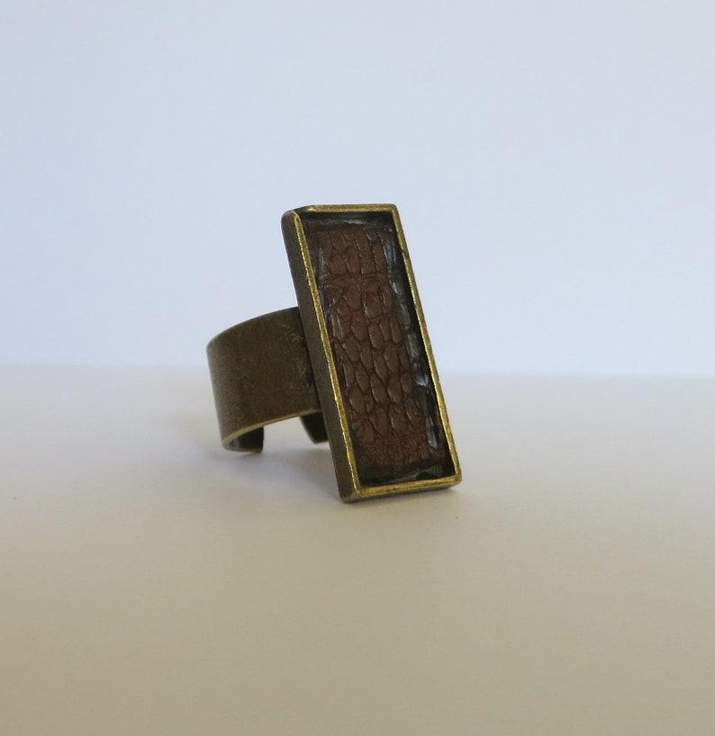 adjustable ring irregular finish ring ring designed by JuSal08 lizard skin ring brown leather ring retro minimalist ring Unisex ring